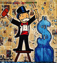"Alec Monopoly Print on Canvas HUGE Urban art Wall Decor Ice Money 28x36"" - $33.48"