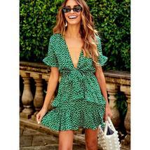Women's Green and White Floral Deep V Neck Mini Sundress image 2