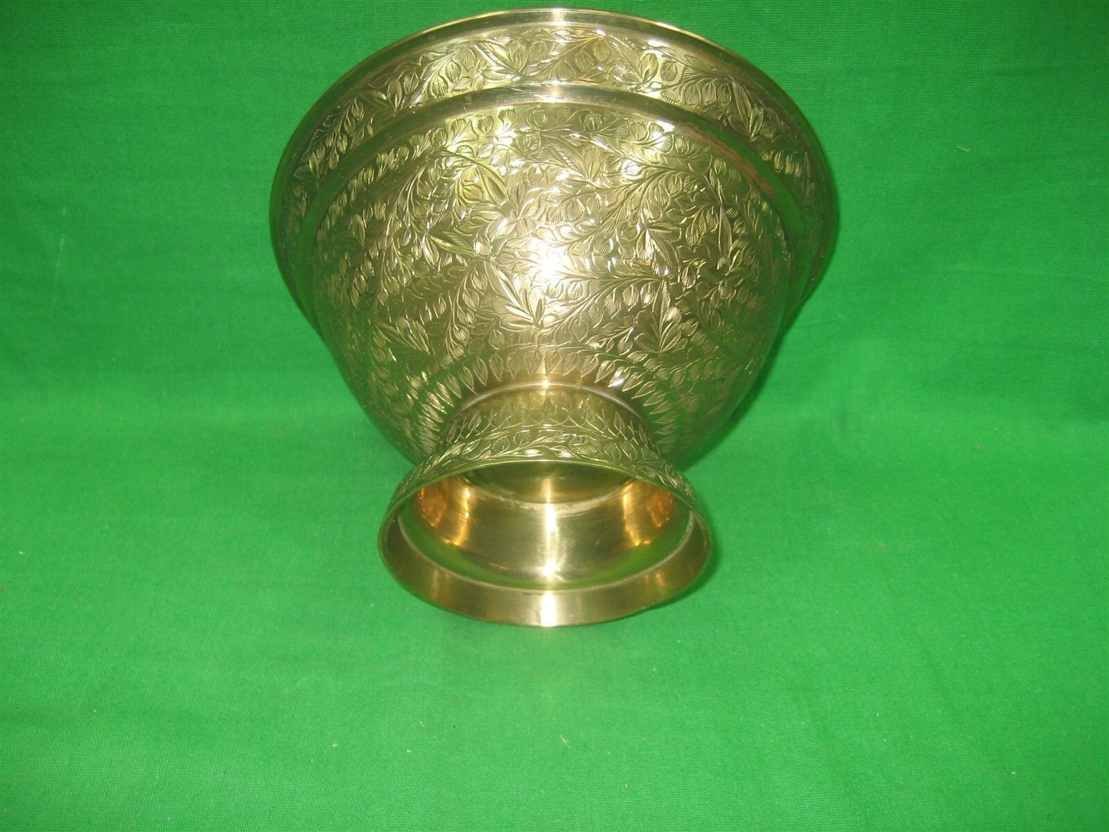 """Vintage Brass Etched Bowl Centerpiece on Pedestal Made In India Ornate 5"""" Tall image 4"""
