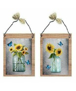 Sunflower Pictures Yellow Flowers Mason Jars Butterflies Wall Hangings P... - $7.99+