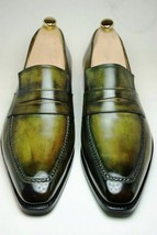 Handmade Men's Green Leather Patina Dress Loafers Hand Colored Unique Shoes - $159.99 - $189.99