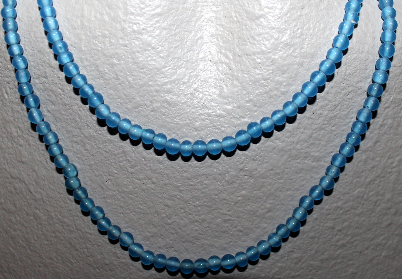 "GLASS BEADS TRANSPARENT BLUE 36"" NECKLACE READY TO WEAR OR USE FOR YOUR CRAFTS"