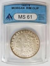 1921 Morgan Silver Dollar ANACS MS 61 Planchet Rim Clip Mint Error Clipped - $89.99