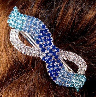 "Austrian Crystal Hair Barrette ""Keke"" Blue Clear free organza bag"
