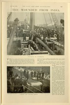 1898 PRINT WOUNDED FROM INDIA PREPARING TO DISEMBARK PIPERS FINDLATER MI... - $64.33
