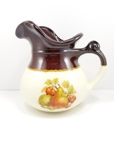 McCoy Fruit Pears 7515 Brown White Stoneware Pitcher  USA  - $9.89