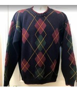 Vintage Tommy Hilfiger Men's Argyle Heavy 100% Cotton Sweater Navy Blue ... - $39.98