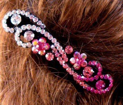"Austrian Crystal Hair Barrette ""Kira"" Multi Pink free organza bag"