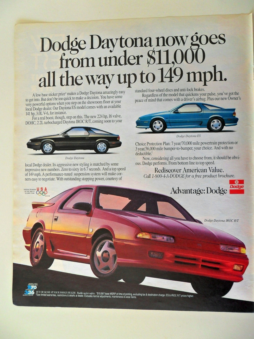 Print Ad Dodge Daytona 1991 ES & IROC R/T Under $11,000