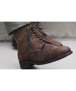 Handmade brown leather Boots, Lace up military Boot, Men's Casual Denim ... - $179.97+