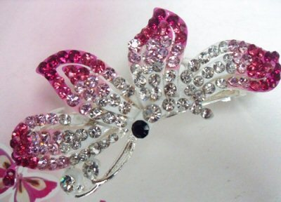 "Austrian Crystal Hair Barrette ""Lauren"" Pink Clear free organza bag"