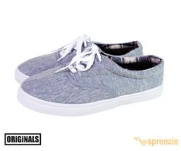 Grey Men's Canvas Shoes Lace Up Casual Sneakers Kicks Originals Lowtop Footwear - $19.01 CAD