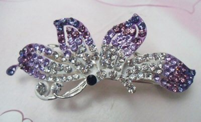 "Austrian Crystal Hair Barrette ""Lauren"" Purple Clear free organza bag"
