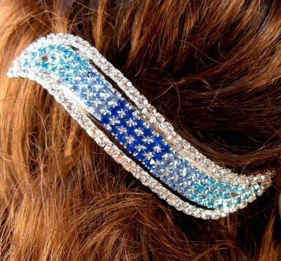 "Austrian Crystal Hair Barrette ""Milan"" Blue Clear free organza bag"