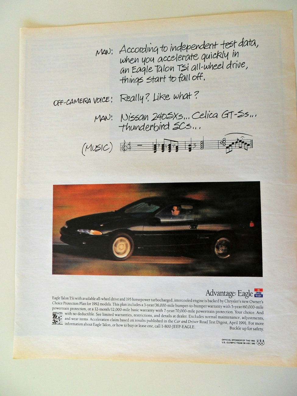 Print Ad Eagle Talon TSi 1991 All Wheel Drive Car Automobile