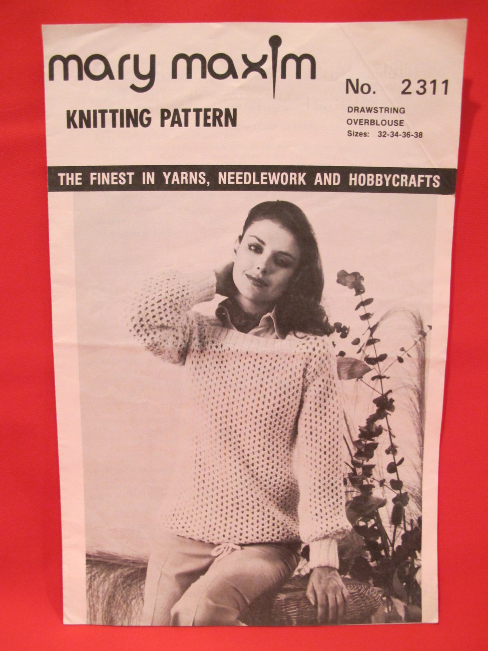 Vintage Mary Maxim Knitting Patterns DrawString OverBlouse Sweater LADIES