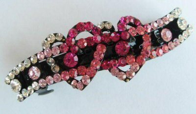 """Austrian Crystal Hair Barrette """"Mya"""" Multi Pink free organza bag"""
