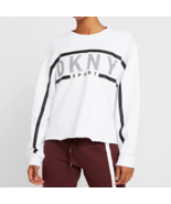 DKNY Sport Exploded Stripe Logo Fleece Sweatshirt, White, S - $37.17