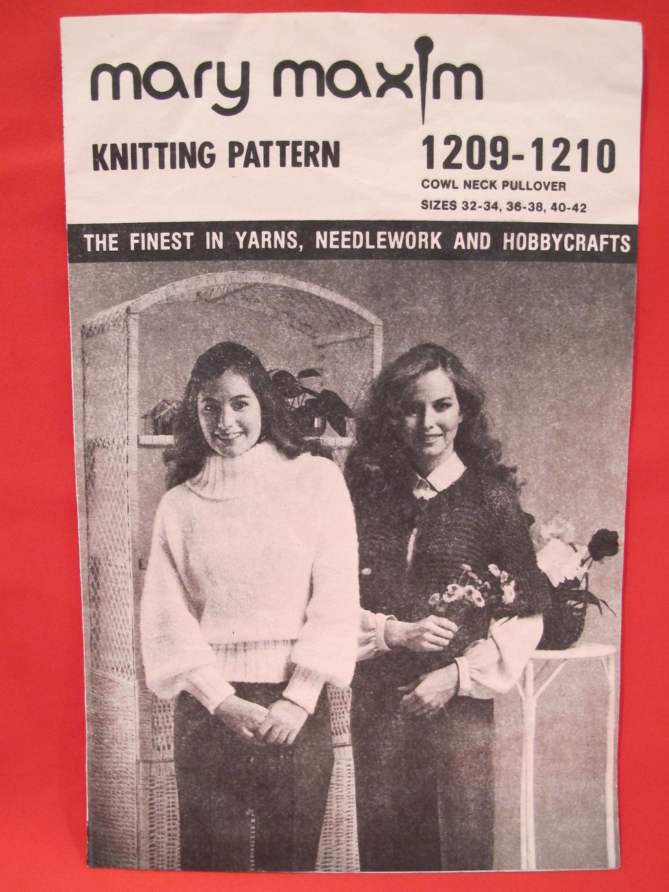 Vintage Mary Maxim Knitting Patterns Cowl Neck Pullover Sweater LADIES 32 - 42