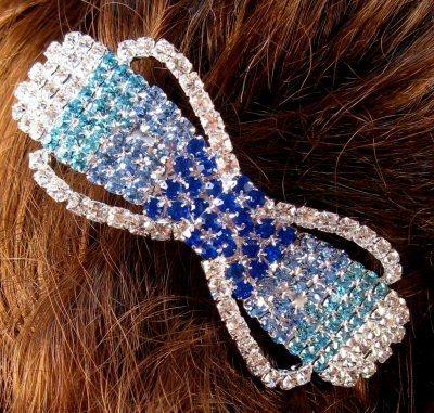 "Austrian Crystal Hair Barrette ""Peyton"" Blue Clear free organza bag"