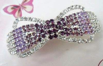 "Austrian Crystal Hair Barrette ""Peyton"" Purple Clear free organza bag"