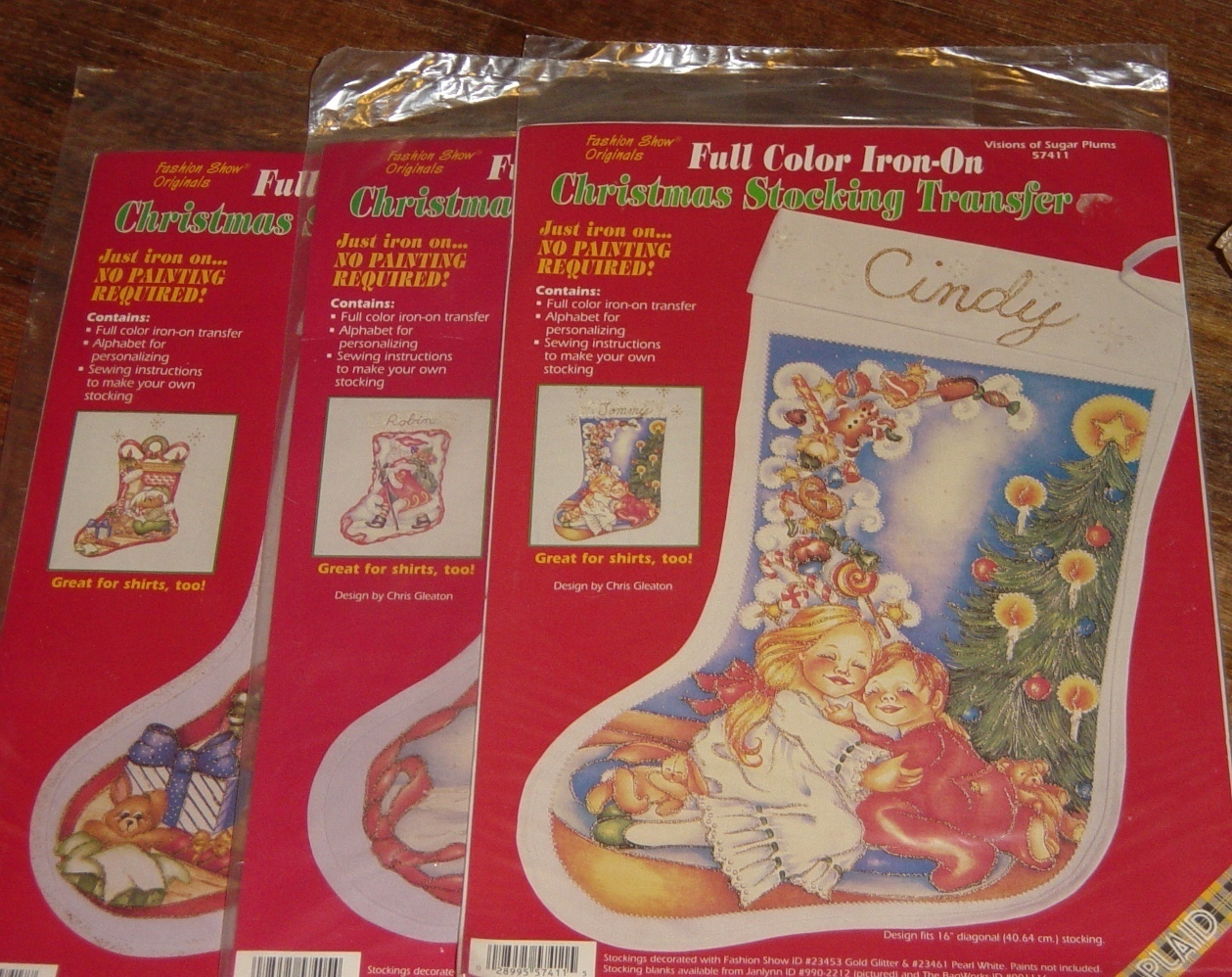Primary image for Lot 3 Different Color Christmas Stocking Transfers Crafts Sewing Santa Bears New