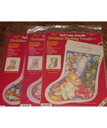 Lot 3 Different Color Christmas Stocking Transfers Crafts Sewing Santa B... - $10.00