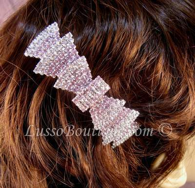 "Austrian Crystal Hair Barrette ""Rosa"" Pink Clear free organza bag"