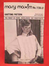 Vintage Mary Maxim Knitting Patterns Quickie Vest LADIES Sizes 32 to 38 - $3.99
