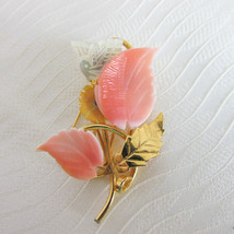 Vintage Carved Mother of Pearl Shell Flower & Bird Motif Pin Gold Plate ... - $16.19