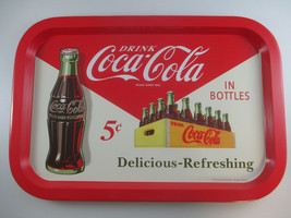 Coca-Cola Tin Tray Retro Ad Delicious and Refreshing Red and White - $6.19