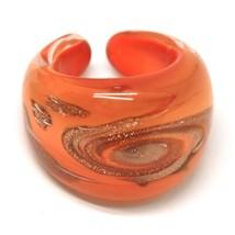 Ring Antica Murrina,Murano Glass,Glitter Orange,Spiral, Band image 1