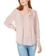 Tommy Hilfiger Dotted Pleated Peasant Top - $45.00