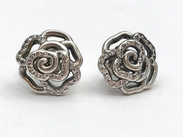 Authentic Pandora Shimmering Rose Stud Earrings, 290575CZ, New - $53.19