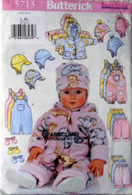 Toddlers Jacket Overalls Pants Hat and Mittens Butterick 5713, Size L-XL - $11.00