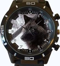 Alaskan Black Wolf Trendy Sports Style Unisex Gift Watch - $34.99