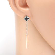 Silver Tone Designer Drop Earrings with Jet Black Faux Onyx Clover and T... - $16.99