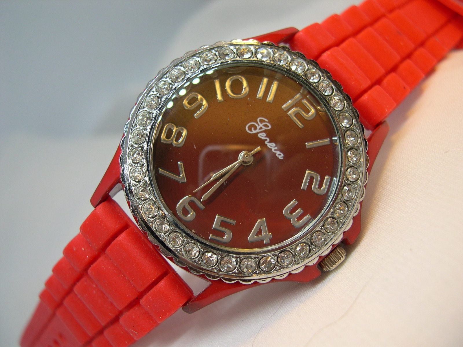 "Primary image for L59, Geneva, Ladies Red Faced Wristwatch, Crystal Surround, 9"" Silicon Band  w/b"