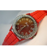 "L59, Geneva, Ladies Red Faced Wristwatch, Crystal Surround, 9"" Silicon B... - $15.99"