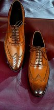 Men's Handmade Tan color wing tip shoes, Men brogue formal shoes,Men dress shoes - $144.99+