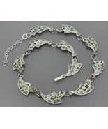 Mexican Sterling Silver Mosaic Crushed Stone Inlay Curved Link Choker Ne... - $36.99