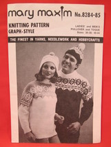 Vintage Mary Maxim Knitting Patterns Pullover Sweater Toque ADULTS 36 - 44 - $5.99