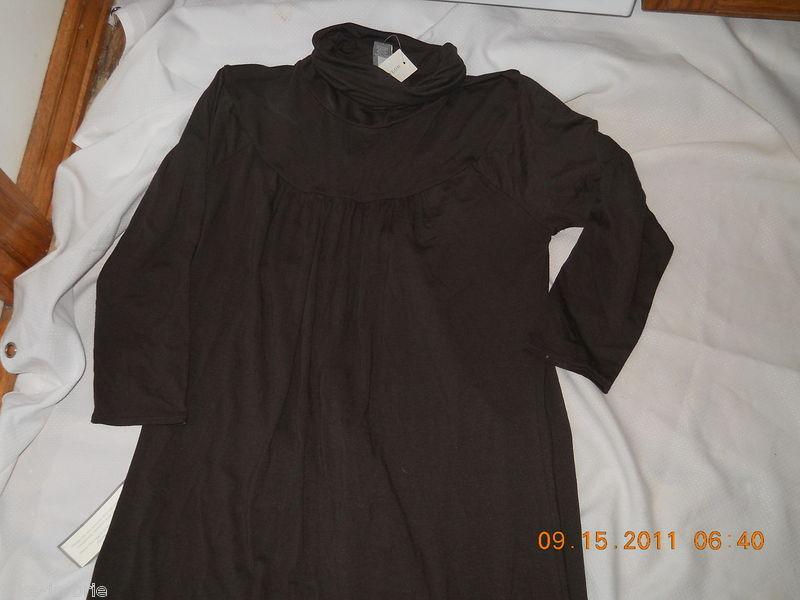 Ann Taylor Ladies Dark Brown Turtleneck scoop Gathered Neck Dress LS Size 2 NEW
