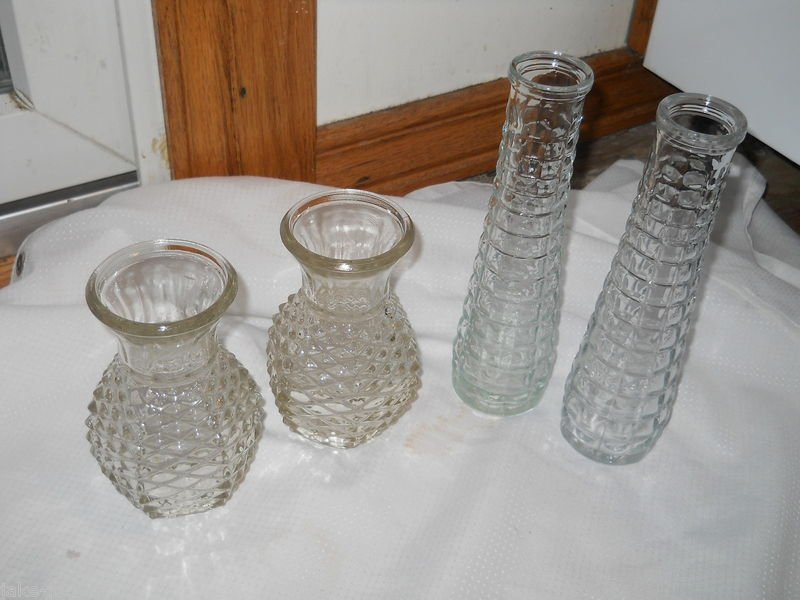 "Primary image for Set of 4 Clear Glass sq Vases 8.5"" Tall E O Brody FTD 6"" 1981 Pineapple Pressed"