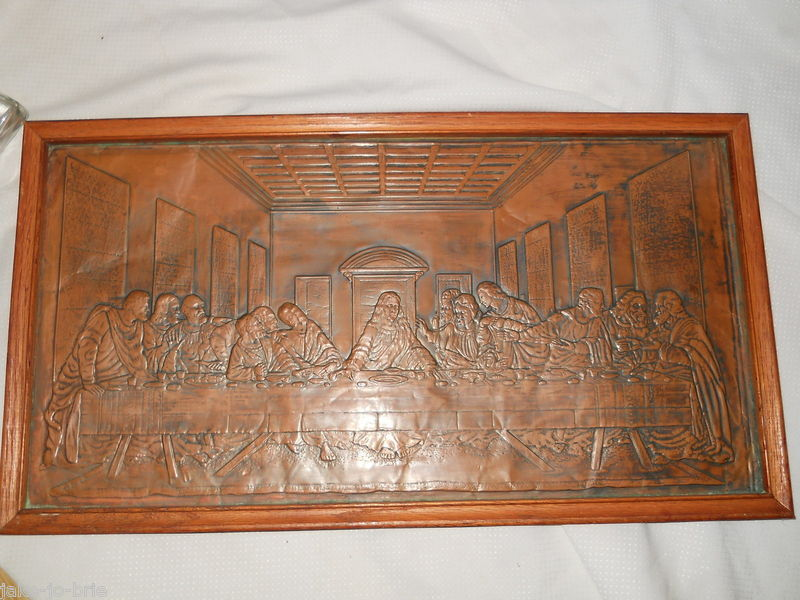 Primary image for Embossed Tin Metal Stamped pressed LAST SUPPER Picture Jesus Disciples Framed