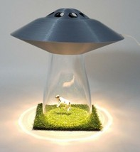 UFO LAMP Alien Cow Abduction Outer Silver Space Saucer Light Farm Countr... - $52.24
