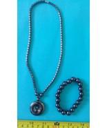 Hematite necklace round /disc shape amulet pend... - $23.27