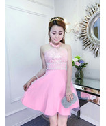 PF244 sexy sequined neck halter dress,stretchcable cotton,, free size pink - $22.80