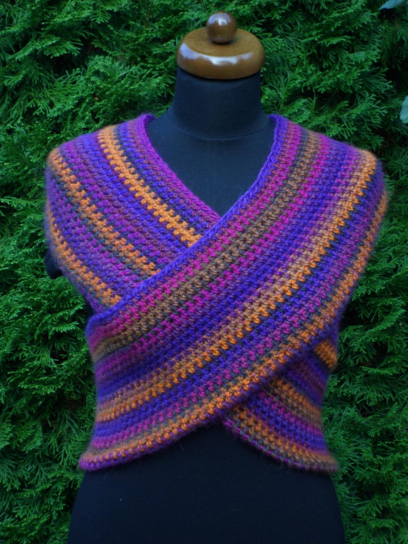 Loop scarf, Circle infinity boho scarf, Hand crochet neckwarmer, orange and lila image 5