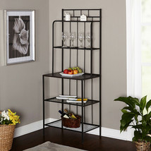 5-Shelf Bakers Rack Metal Kitchen Storage Shelves Baker's Black Gray Dis... - $147.92